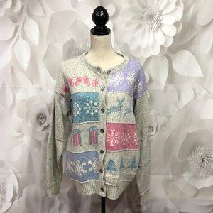 Woolrich Winter Theme Gray & Pastel Cardigan XL